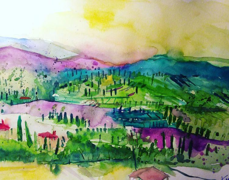 Mischtechnik, Landschaft, Izmir