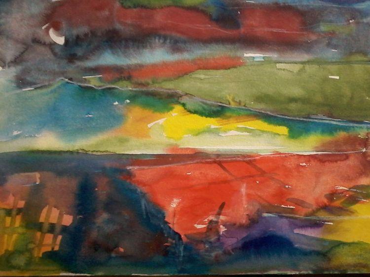 Gedanken, Mischtechnik, Landschaft, Malerei,