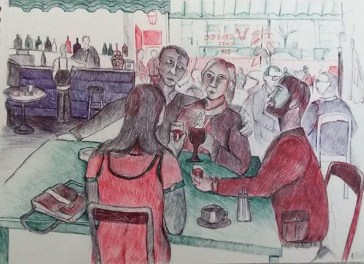 Eiscafe, Menschen, Corona, Sehnsucht, Illustrationen