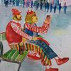 Karneval, Eigelstein, Wasserfarben, Menschen