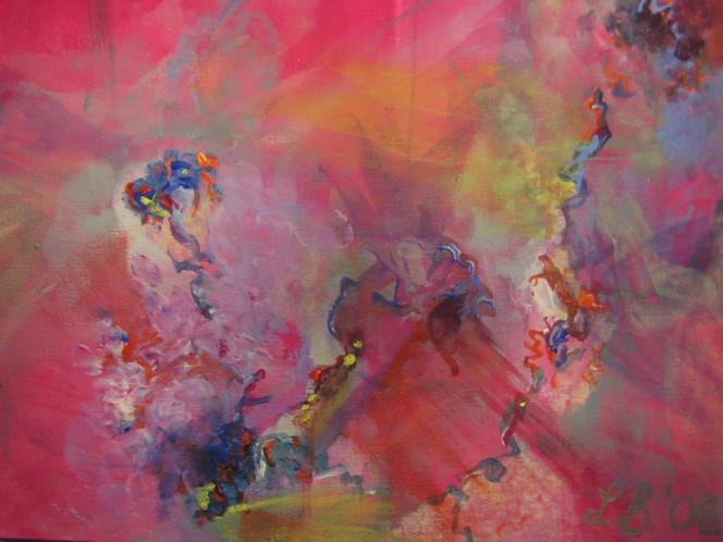 Abstrakt, Licht, Grün, Rot, Acrylmalerei, Blau