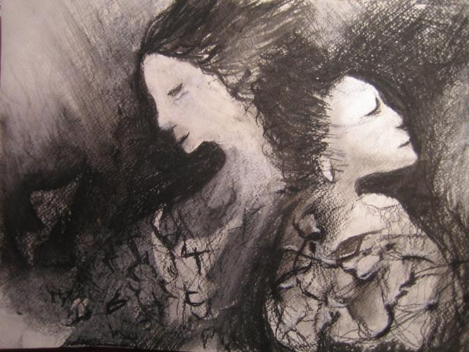 Kreide, Frau, Schwarz weiß, Zeichnung, Schlaf, Weiß