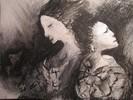 Zeichnung, Schlaf, Schwarze frau, Kohlezeichnung