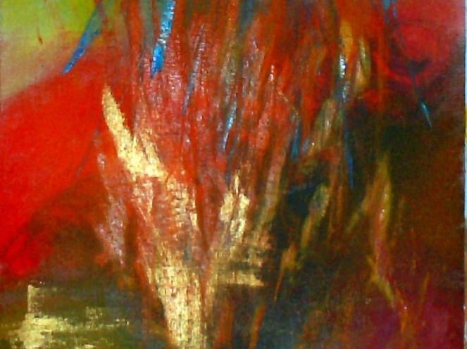 Orange, Schwarz, Gold, Acrylmalerei, Rot, Abstrakt