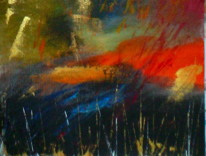 Rot, Gold, Blau, Abstrakt, Acrylmalerei, Malerei