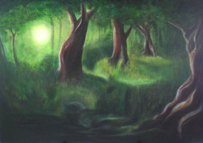 Wald, Grün, Baum, Licht, Malerei