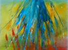 Blau, Gold, Abstrakt, Acrylmalerei