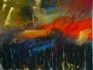 Blau, Abstrakt, Acrylmalerei, Rot