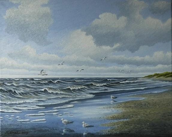 Möwe, Wasser, Welle, Wolken, Meer, Malerei