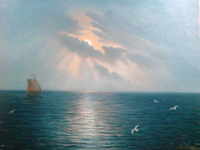 See, Malerei, Meer, Nacht, Mond, Landschaft