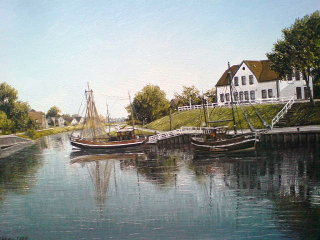 Friesland, Weite, Malerei, Landschaft, Ostfriesland, Hafen