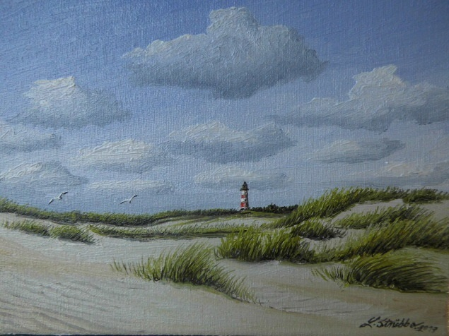 Dünen, Wolken, Sand, Blau, Malerei