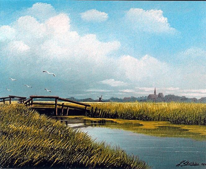 Friesland, Nordsee, Ostfriesland, Watt, Weite, Malerei