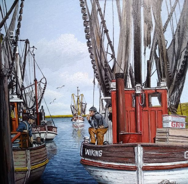 Hafen, Wasser, Fischer, Kutter, Möwe, Krabbe