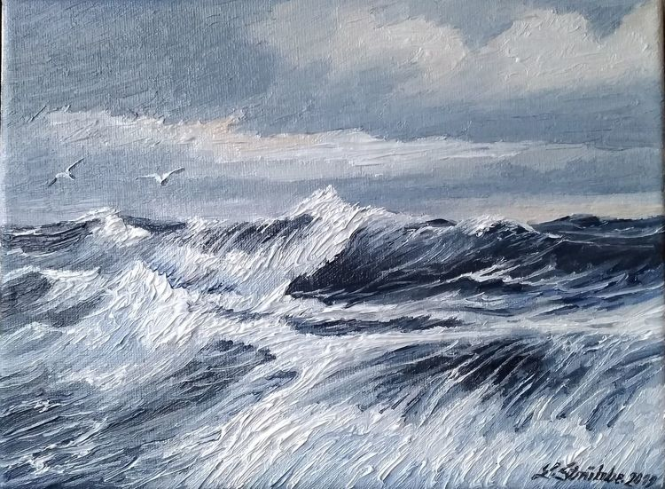 Möwe, Meer, Nordsee, Welle, Malerei