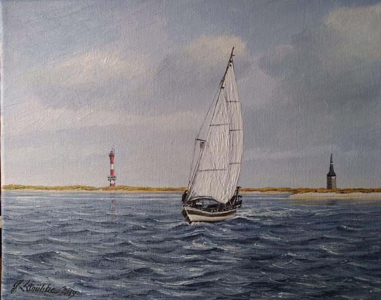 Wasser, Leuchtturm, Insel, Schiff, Malerei