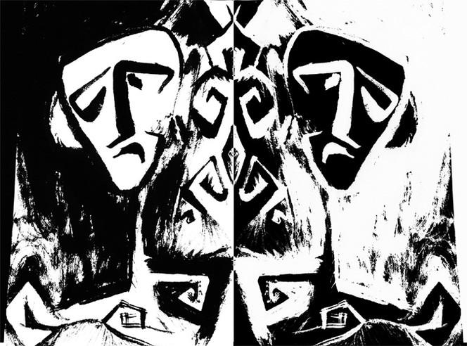 Zwillinge, Doppelt, Linol, Schwarzweiß, Zeichnungen, Surreal