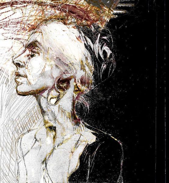 Zeichnung, Portrait, Schwarz, Gedanken, Fremde, Schatten