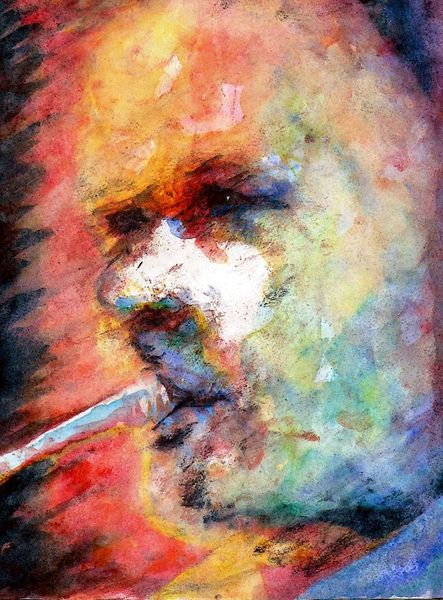 Farben, Mann, Aquarellmalerei, Portrait, Musiker, Aquarell