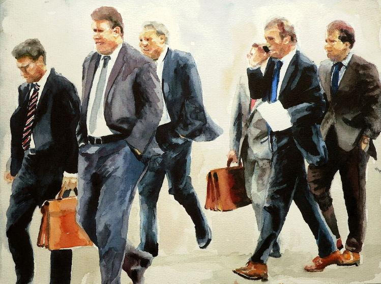 Geschäft, Menschen, Aquarellmalerei, Mann, Anzug, Aquarell
