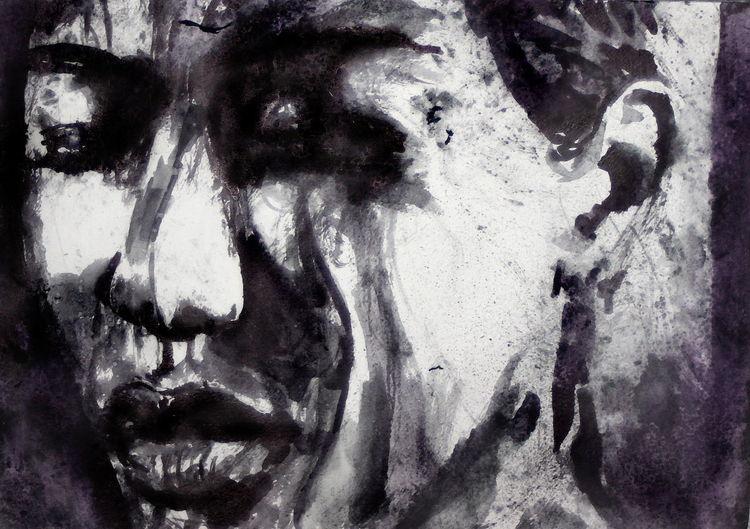 Gesicht, Ausdruck, Frau, Portrait, Aquarell