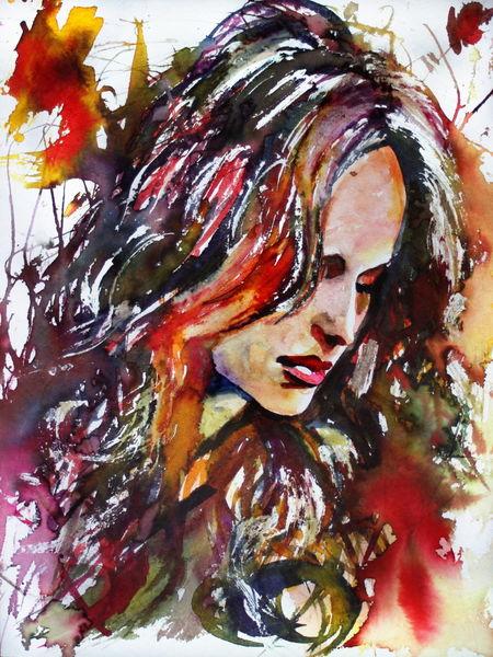 Gesicht, Blick, Portrait, Aquarellmalerei, Ausdruck, Frau