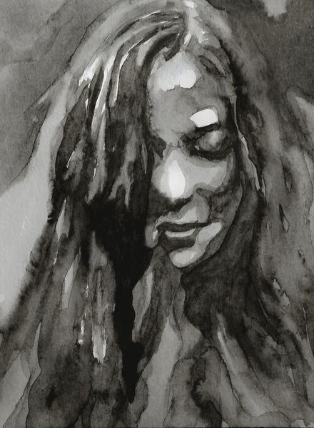 Monochrom, Frau, Grau, Aquarellmalerei, Blick, Portrait