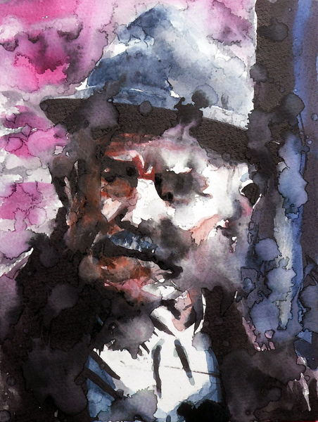 Mann, Portrait, Ausdruck, Emotion, Aquarell