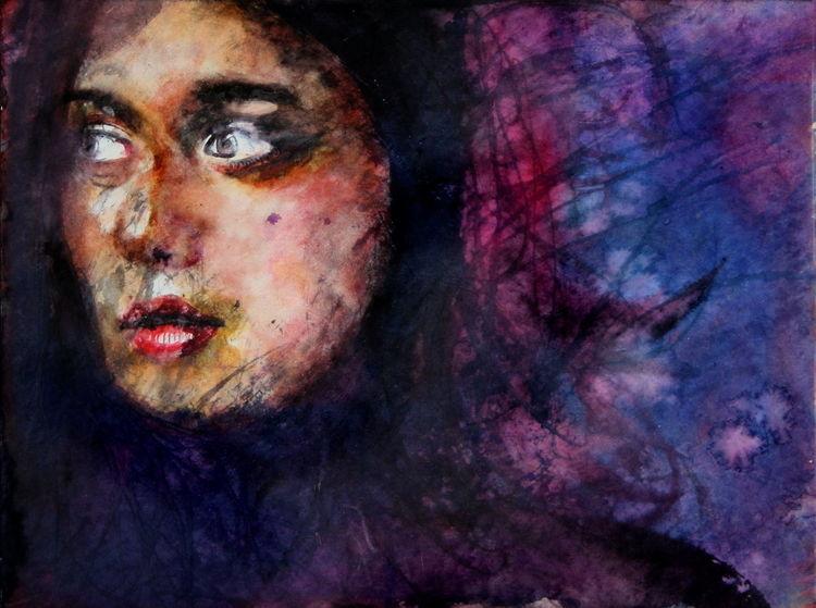 Portrait, Frau, Mädchen, Gesicht, Aquarell