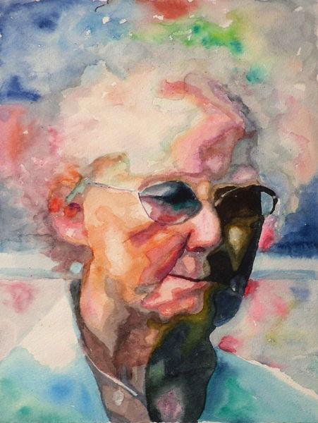 Aquarellmalerei, Ausdruck, Blick, Portrait, Alt, Frau