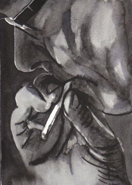 Zigarette, Mann, Hände, Rauchen, Mischtechnik