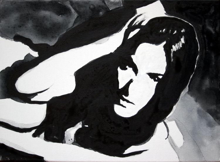 Blick, Monochrom, Frau, Schwarz, Gesicht, Weiß