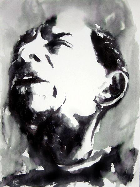 Aquarellmalerei, Gesicht, Ausdruck, Mann, Verzweiflung, Aquarell