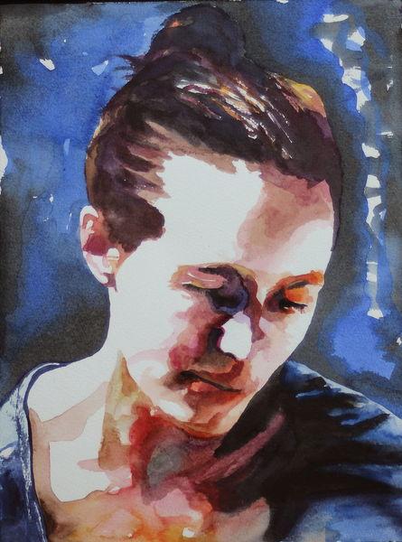 Blick, Gesicht, Portrait, Ausdruck, Frau, Aquarell