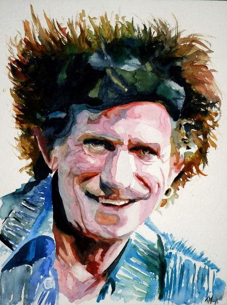 Rolling stones, Aquarellmalerei, Felsen, Portrait, Richards, Stern