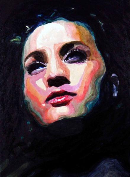 Blick, Lippen, Mund, Ausdruck, Farben, Acrylmalerei