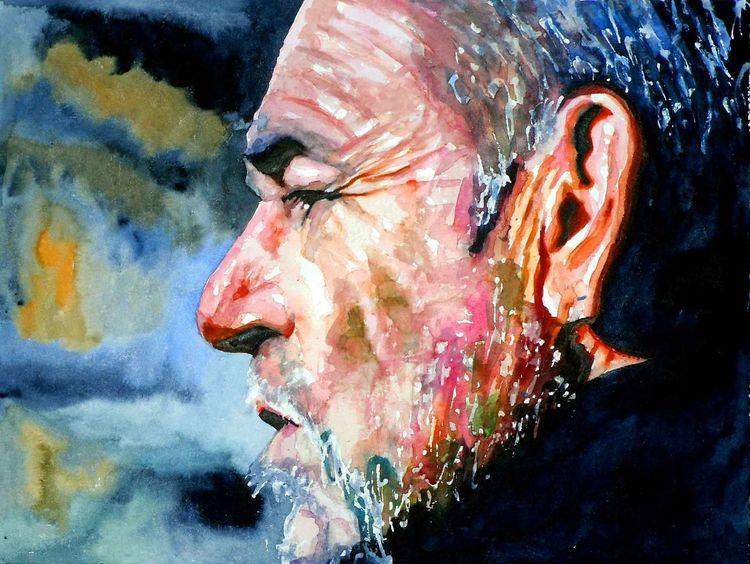 Ausdruck, Portrait, Farben, Aquarellmalerei, Gesicht, Mann