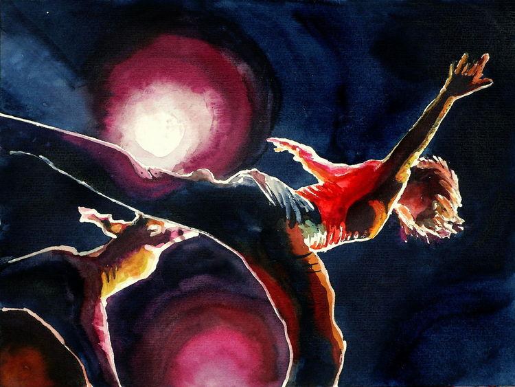Ausdruck, Tanz, Aquarellmalerei, Licht bewegung, Aquarell, Modern