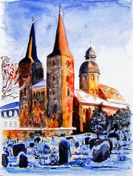 Eule, Marienmünster, Aquarellmalerei, Kirche, Malerei, Abtei