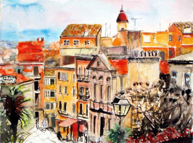 Korfu, Landschaft, Malerei, Kerkyra, Griechenland, Aquarellmalerei