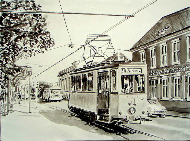Aquarellmalerei, Malerei, Straßenbahn, Zeichnung, Monochrom, Wuppertal