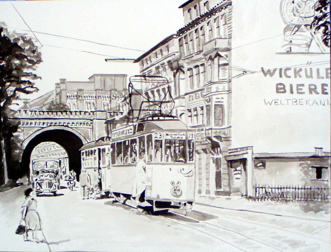Wuppertal, Monochrom, Aquarellmalerei, Zeichnung, Straßenbahn, Zeichnungen