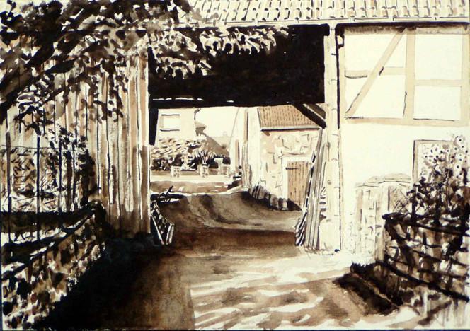 Licht, Aquarellmalerei, Schatten, Monochrom, Bauernhof, Lage