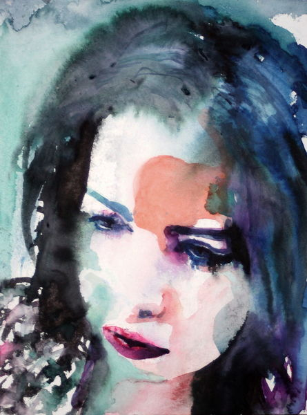 Menschen, Aquarellmalerei, Gesicht, Ausdruck, Portrait, Blick