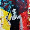 Frau, Figurativ, Schirm, Farben