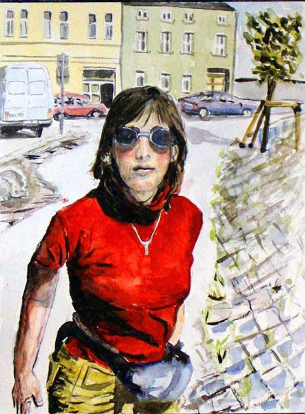 Malerei, Aquarellmalerei, Comic, Portrait, Frau