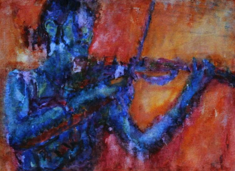 Geige, Farben, Aquarellmalerei, Musik, Menschen, Aquarell