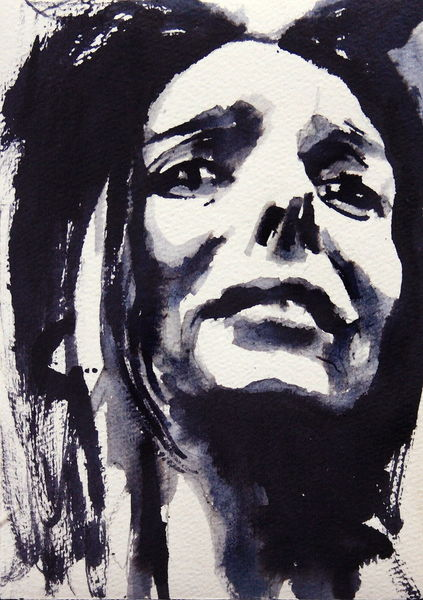 Gesicht, Monochrom, Frau, Blick, Aquarellmalerei, Ausdruck
