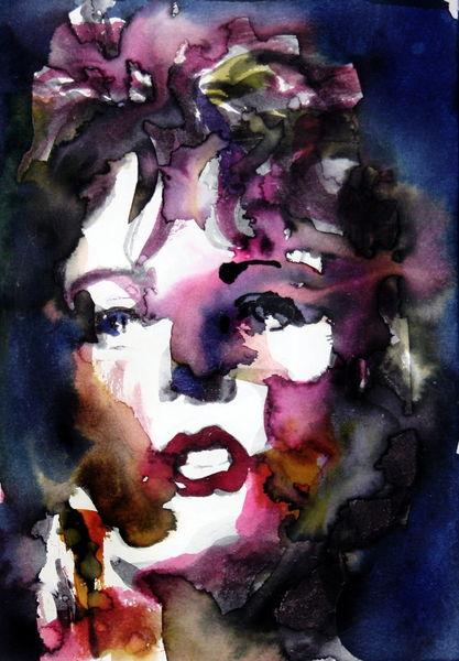 Blick, Frau, Ausdruck, Portrait, Farben, Aquarellmalerei