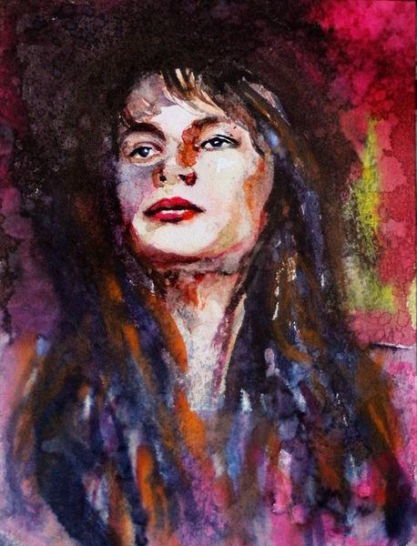 Gesicht, Blick, Ausdruck, Frau, Portrait, Aquarell